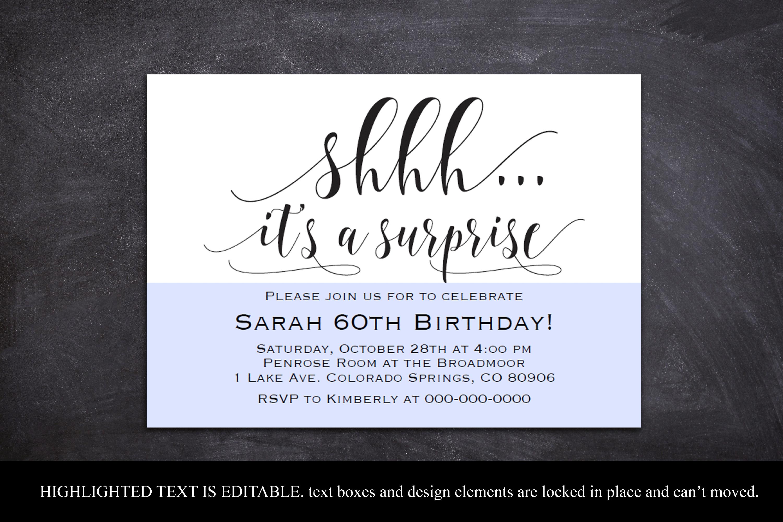 Surprise party invitation template Shhh it's a surprise ...