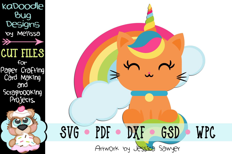 Rainbow Unicorn Cat Cut File - SVG PDF DXF GSD WPC example image 1
