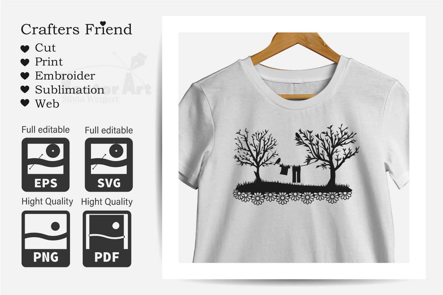 Trees and Clothes line - Cut File for Crafter example image 4