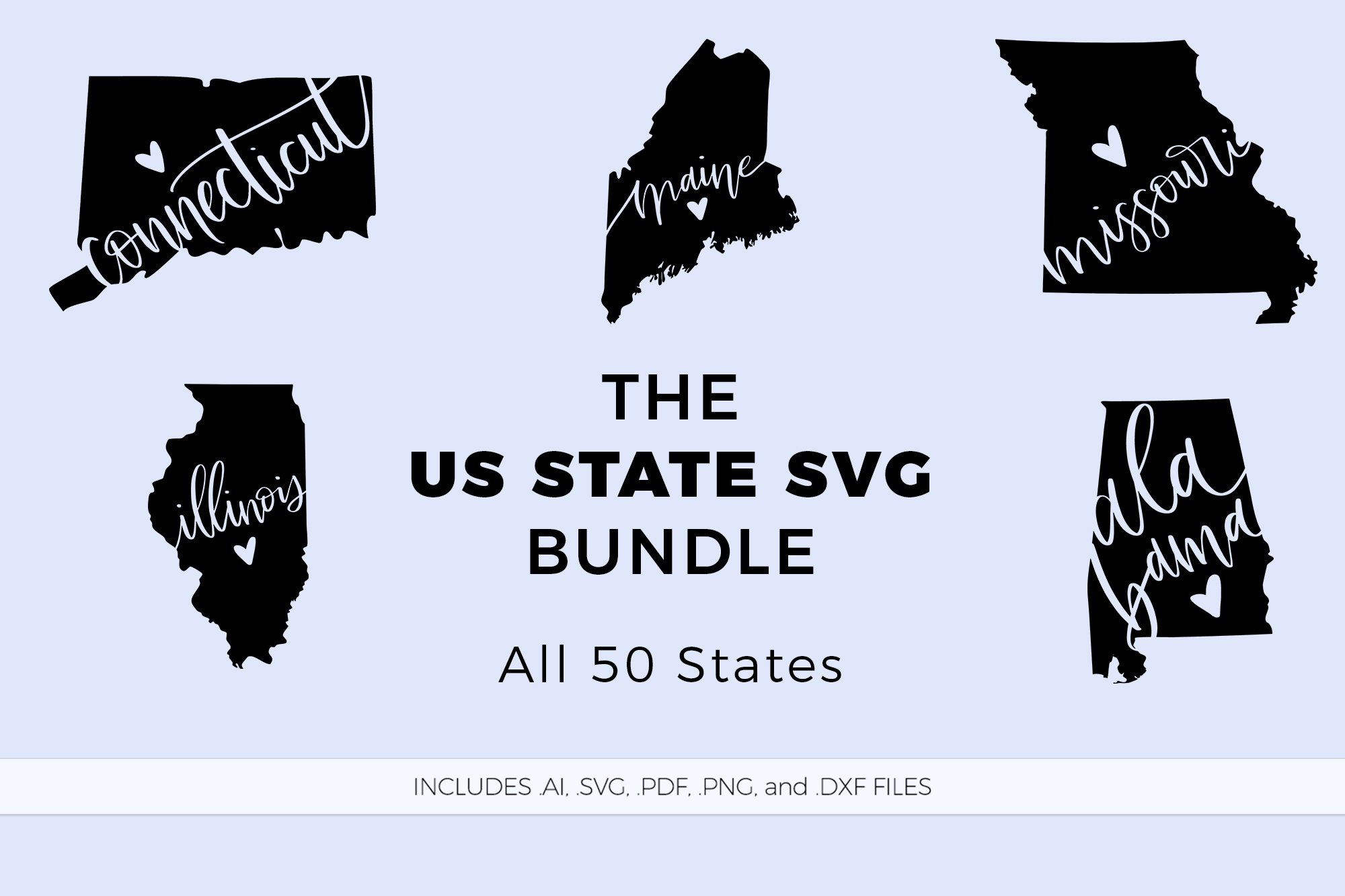 The US State Love SVG Bundle example image 1