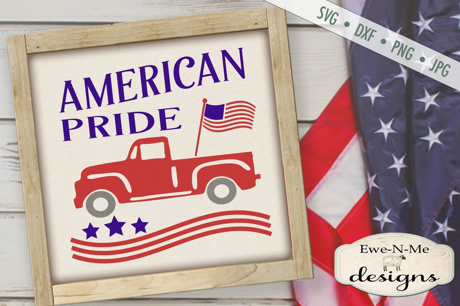 American Pride - Vintage Truck - Flag 4th of July - SVG DXF example image 1