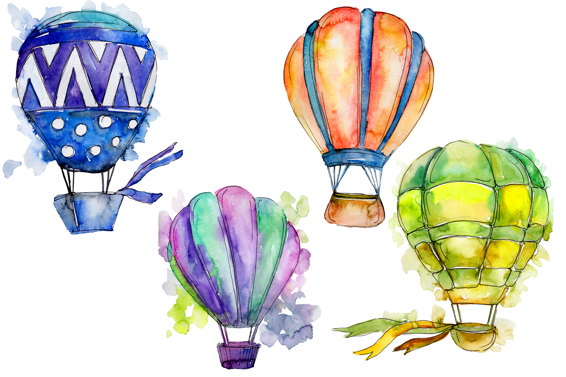 - Colorful Hot Air Balloon PNG Set (113932) Illustrations Design