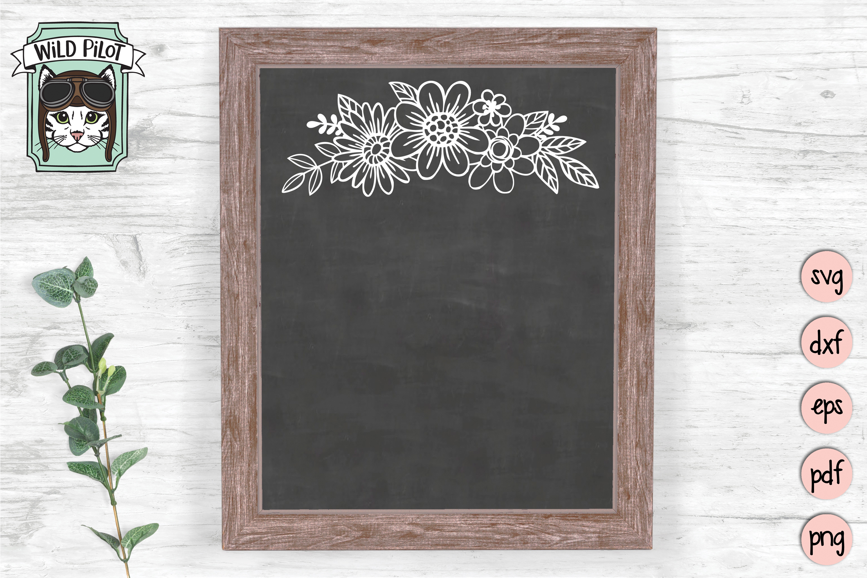Flowers svg file, Floral cut file, Flowers Border clipart example image 2
