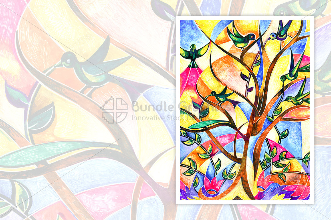Flora & Fauna - Painting of Tree and Birds example image 1