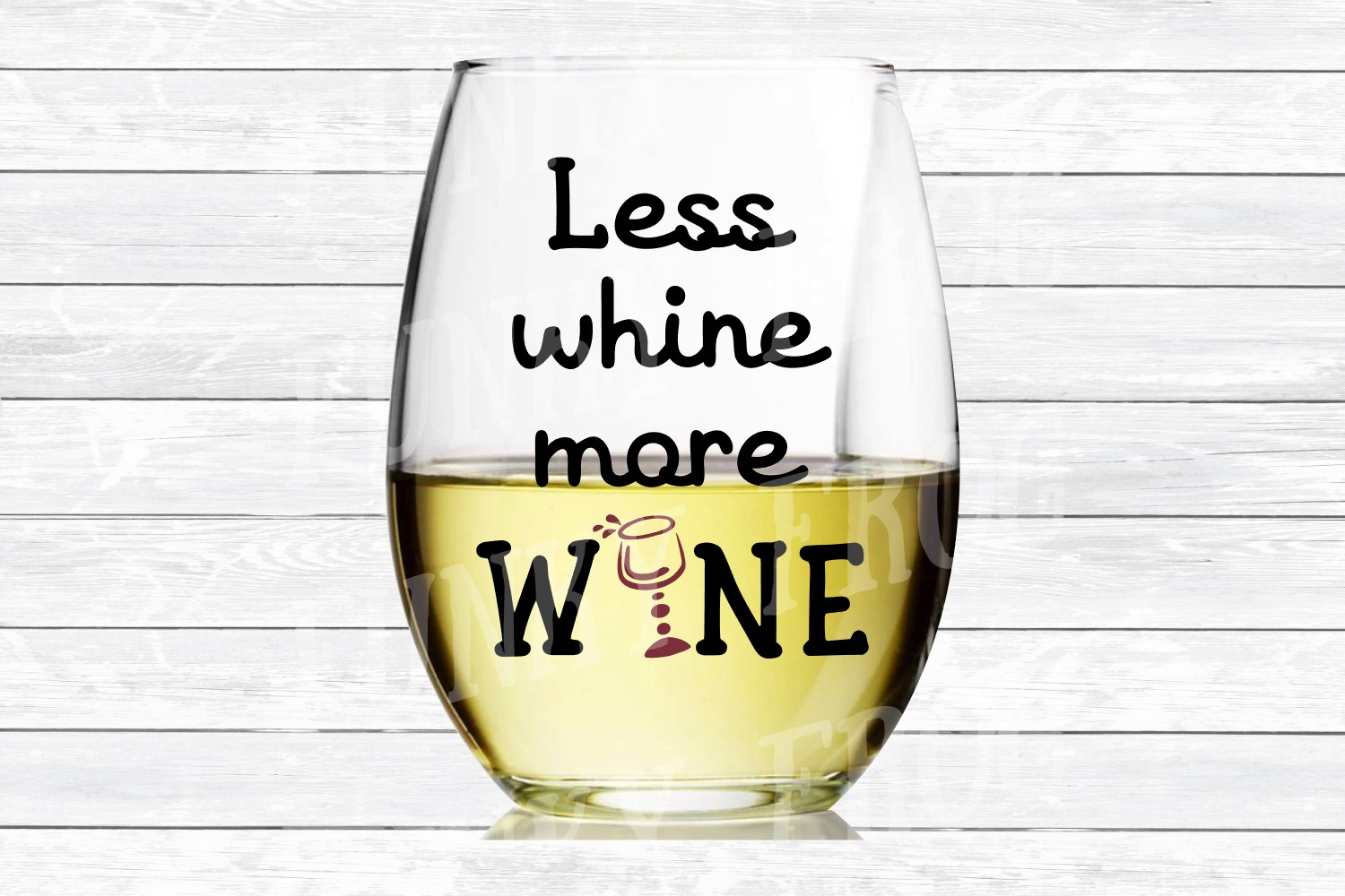 Less Whine More Wine SVG Cut File for Crafters example image 3