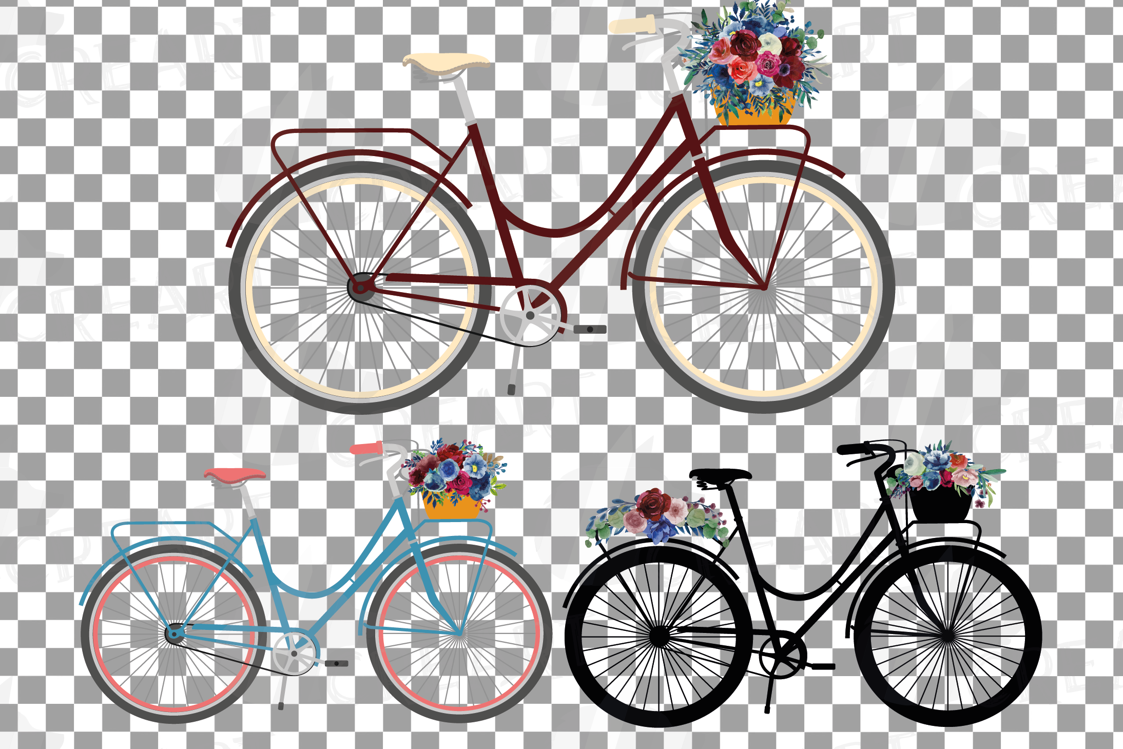 Floral bicycles with watercolor bouquets decoration clip art example image 2