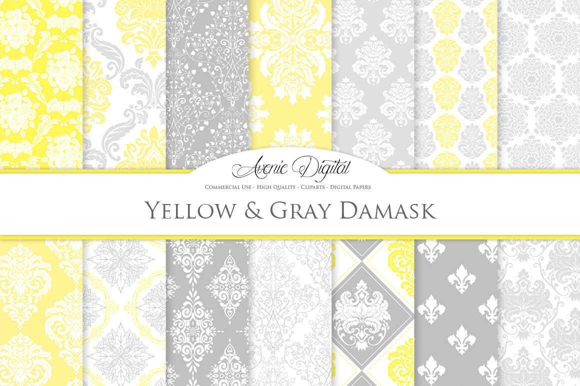 28 Yellow and Gray Damask Patterns - Seamless Digital Papers Bundle example image 2