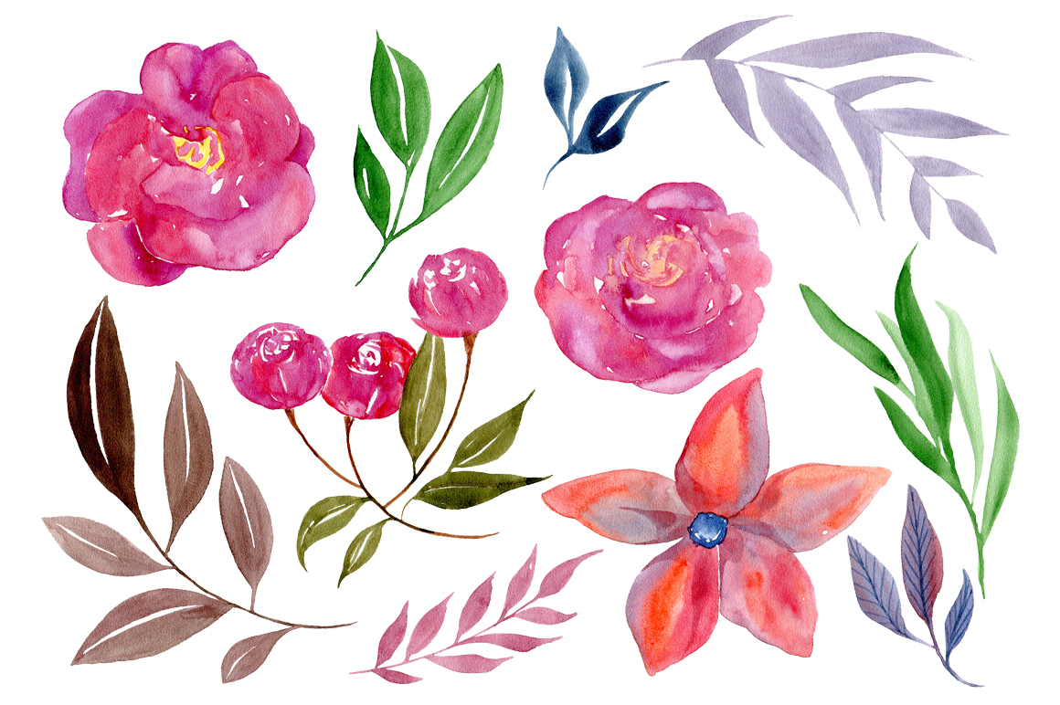 Watercolor boho flowers example image 2