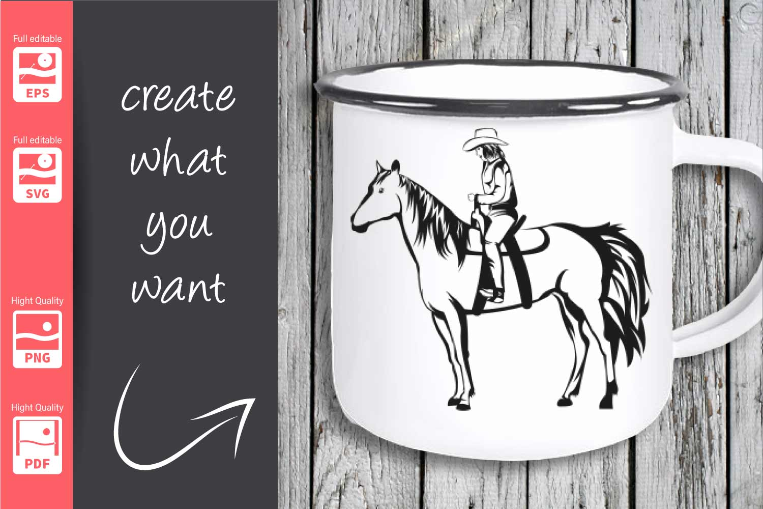 Cowgirl and Horse - SVG - example image 3