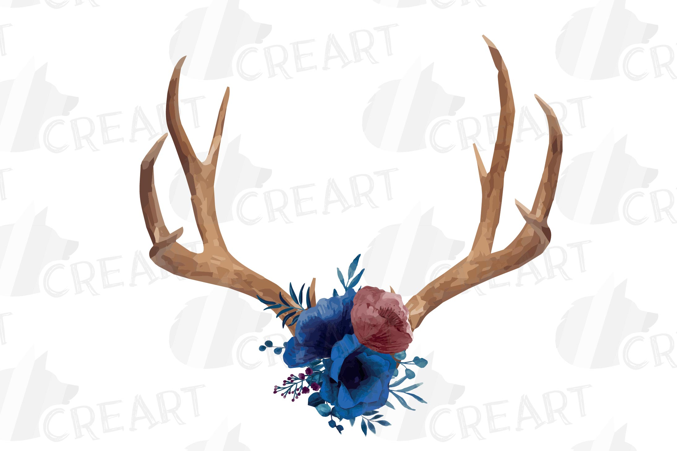 Watercolor navy blue floral deer horn decor clip art, India example image 5