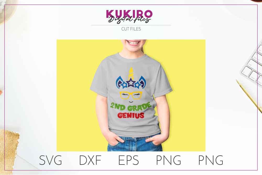 Unicorn SVG - Genius school boy cut file SVG DXF EPS PNG JPG example image 3