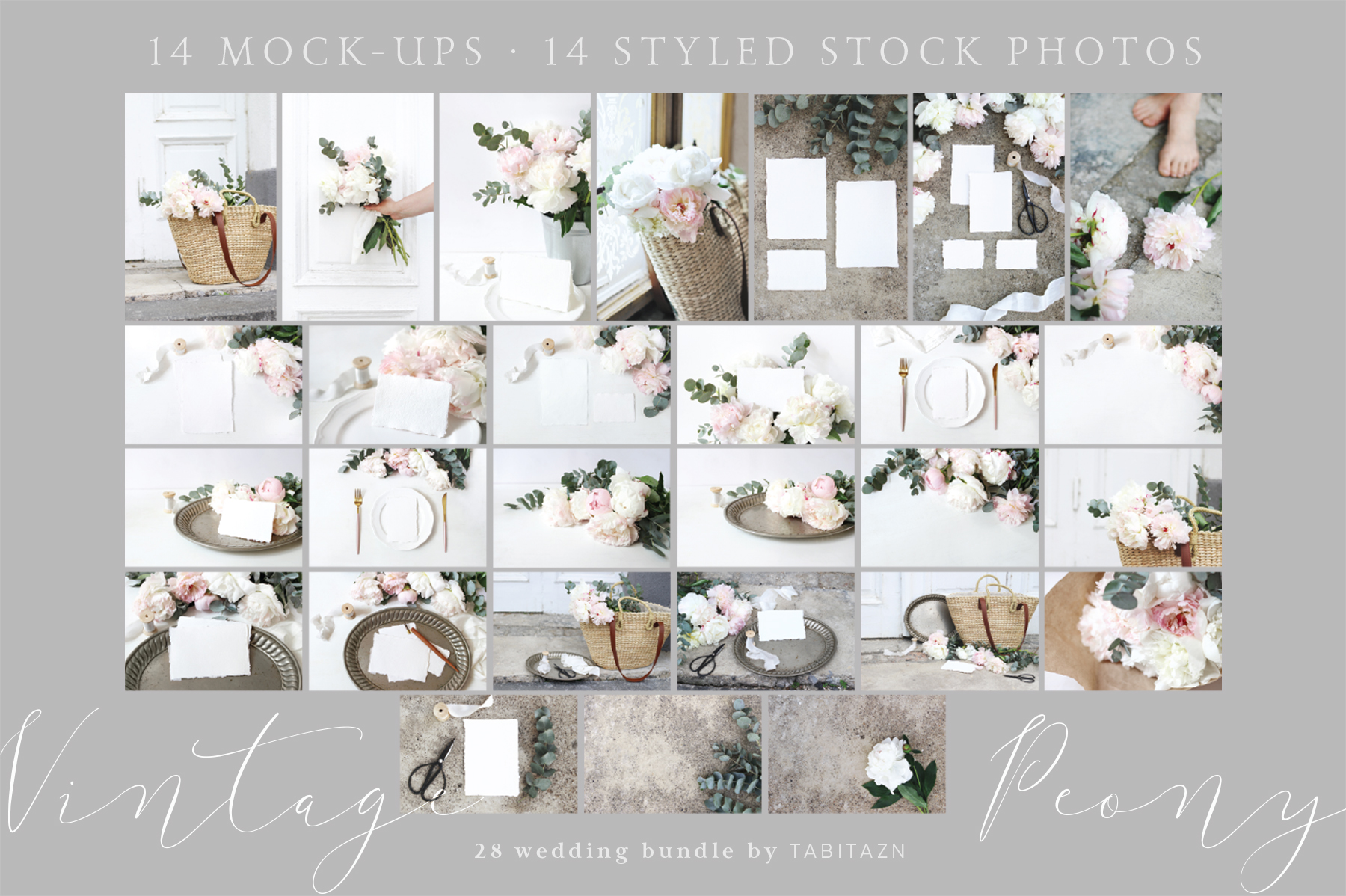 Vintage peony wedding mockups & stock photo bundle example image 11
