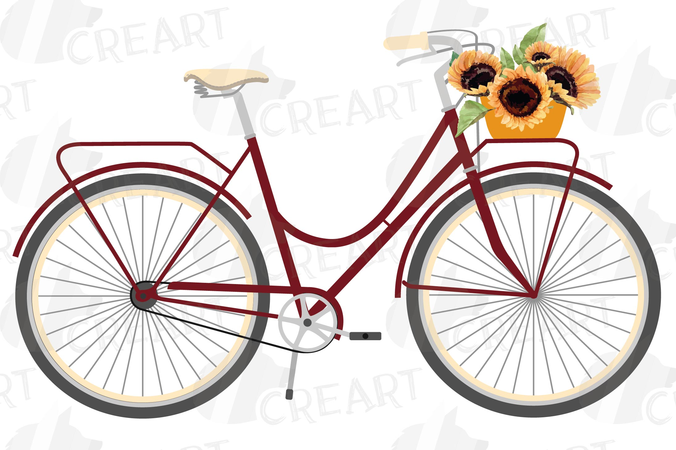 Sunflower bouquets bicycles clip art. Floral bikes decor png example image 5