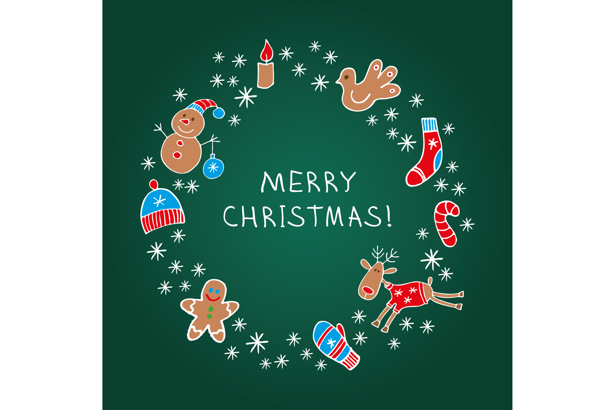 Poster Merry Christmas! Vector illustration. Greeting card. 1 of the jpeg file in resolution 4167*4167 px and 1 file eps8. example image 1
