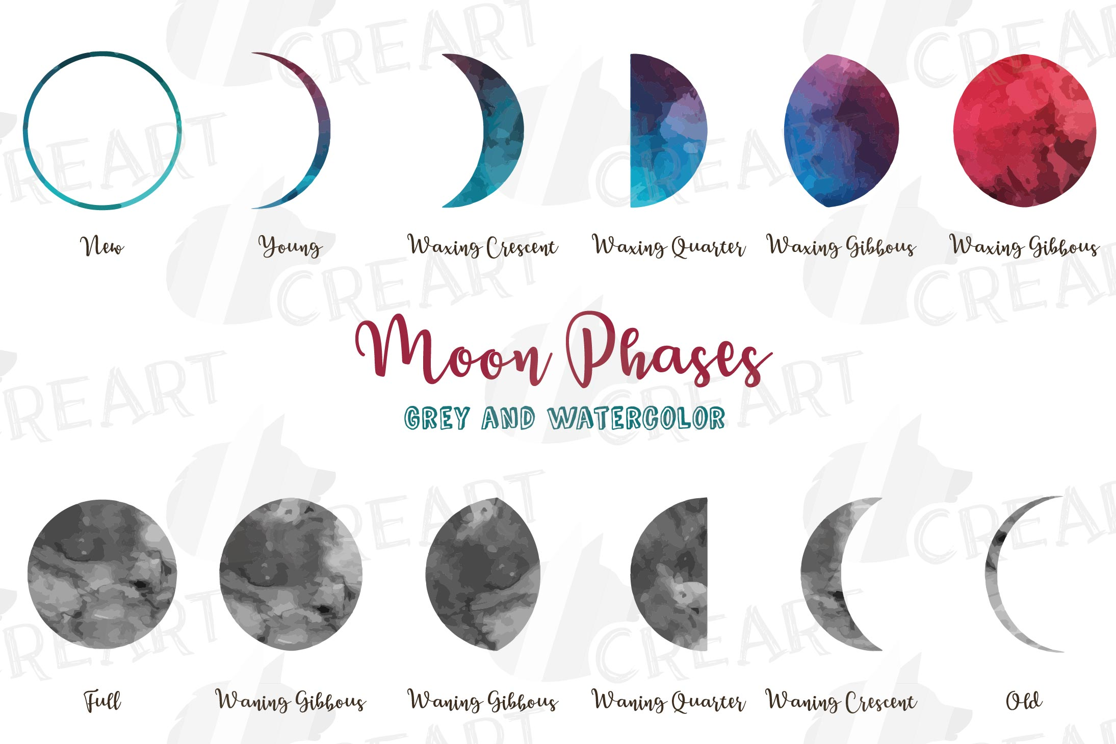 Watercolor space blue and grey Moon Phases clip art pack example image 1