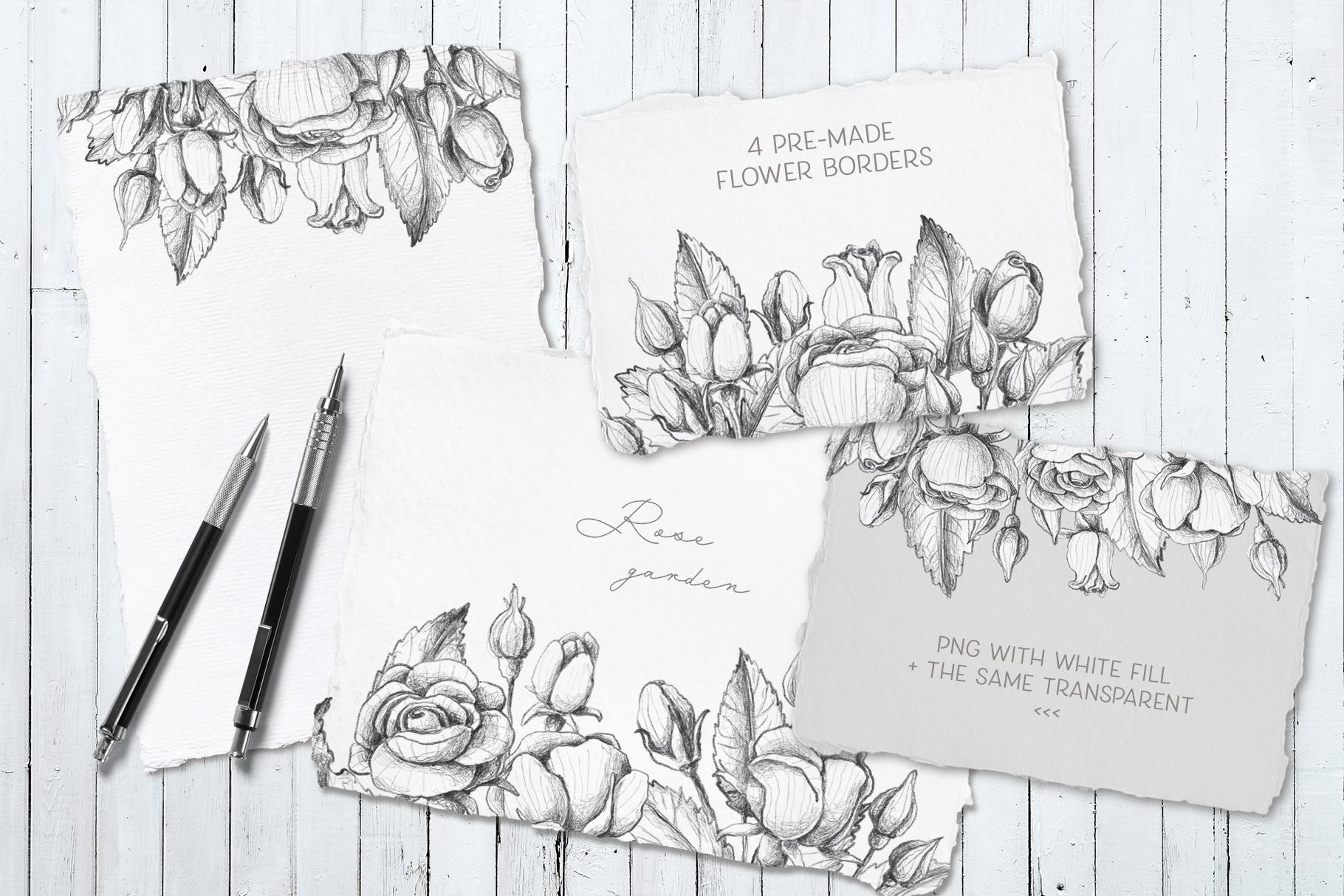 Sketched roses, patterns, frames example image 10