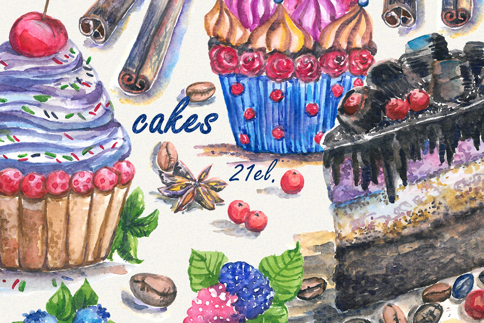 Cake Clipart, cupcake clipart, donut clipart, Handpainted example image 4