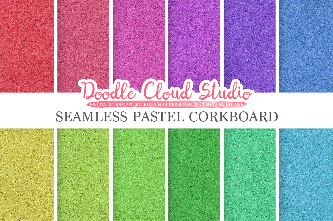 Seamless Pastel Corkboard digital paper, Cork Board Rainbow Backgrounds, Printable Corkboard, Cork textures, Instant Download Commercial Use example image 1