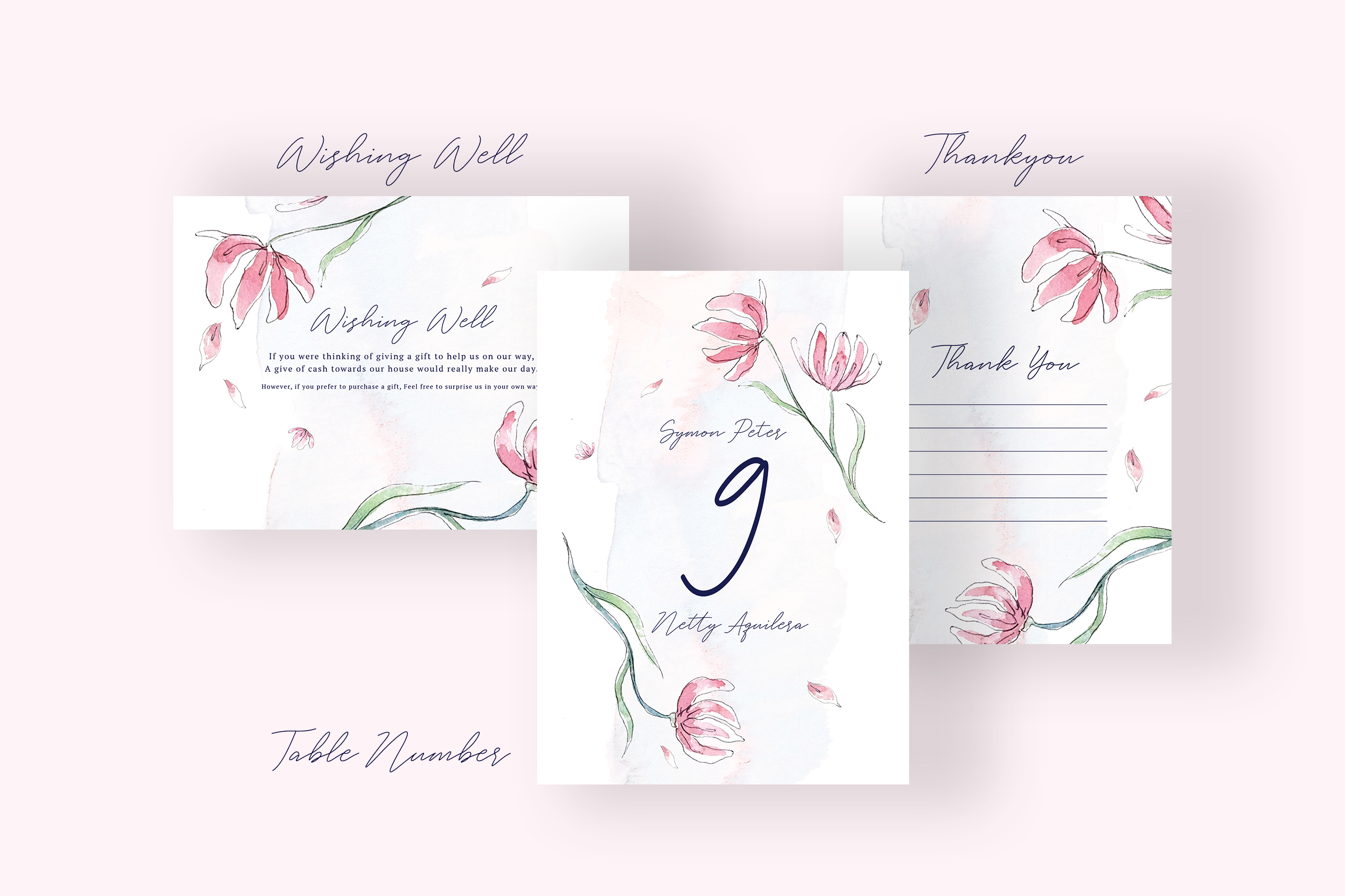 Pink Floral Wedding Invitation Suite example image 5