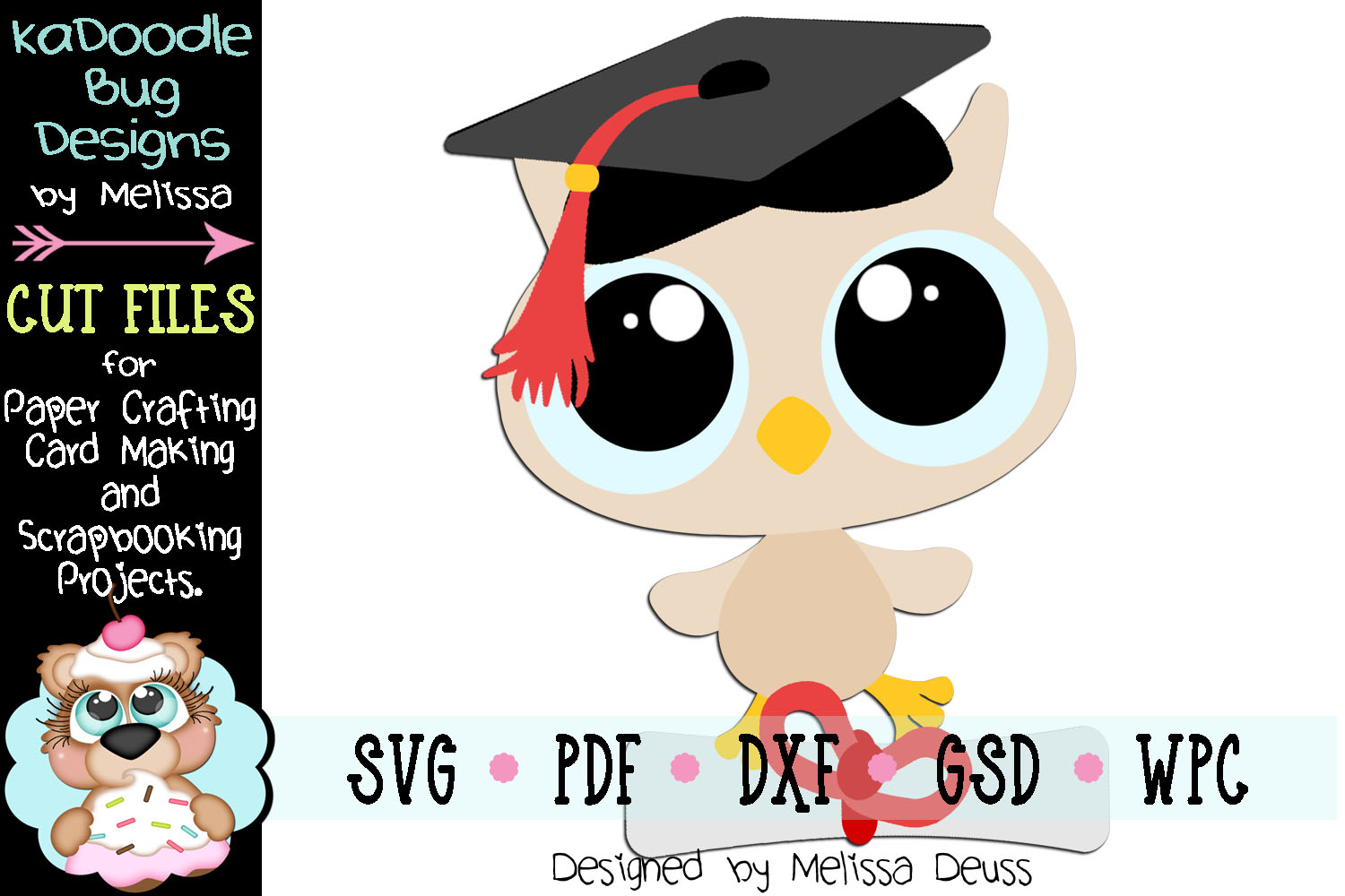 Graduating Baby Owl Cut File - SVG PDF DXF GSD WPC example image 1