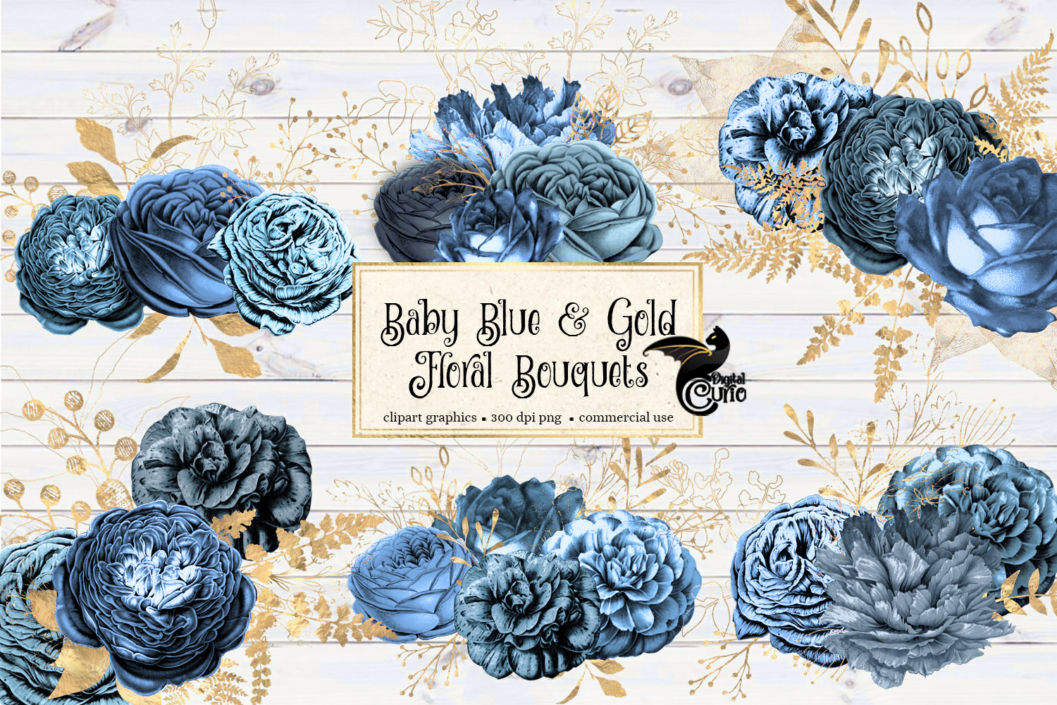 Baby Blue and Gold Floral Clipart example image 1