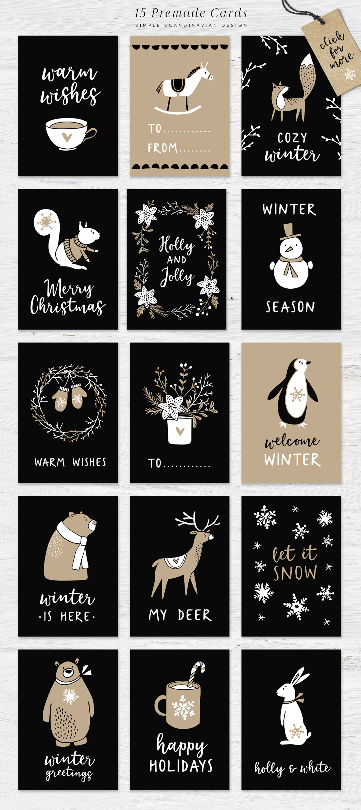 Welcome Christmas Scandinavian illustrations, cards, patterns example image 4
