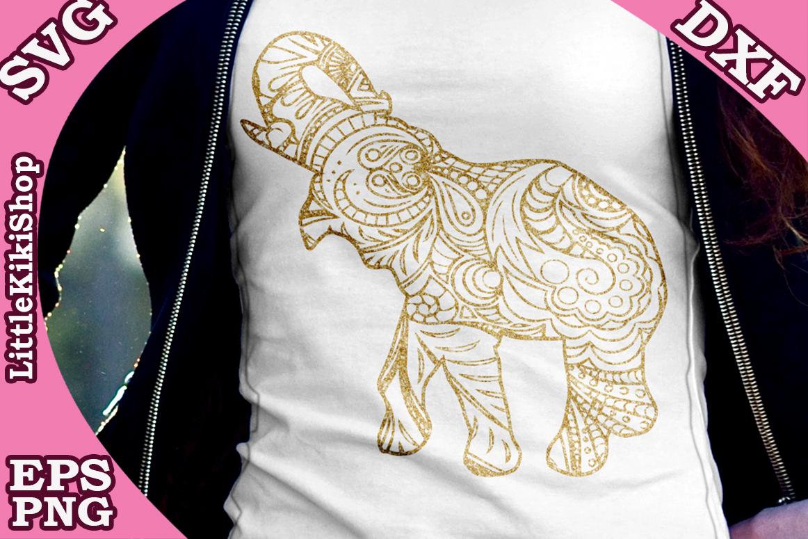 Zentangle Elephant Svg ,Mandala Elephant Svg, Zentangle anim example image 2