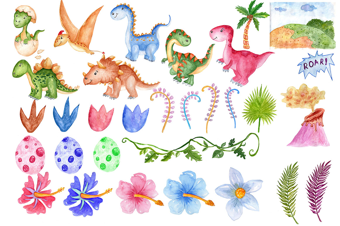 Watercolor Dinosaur Clipart example image 3