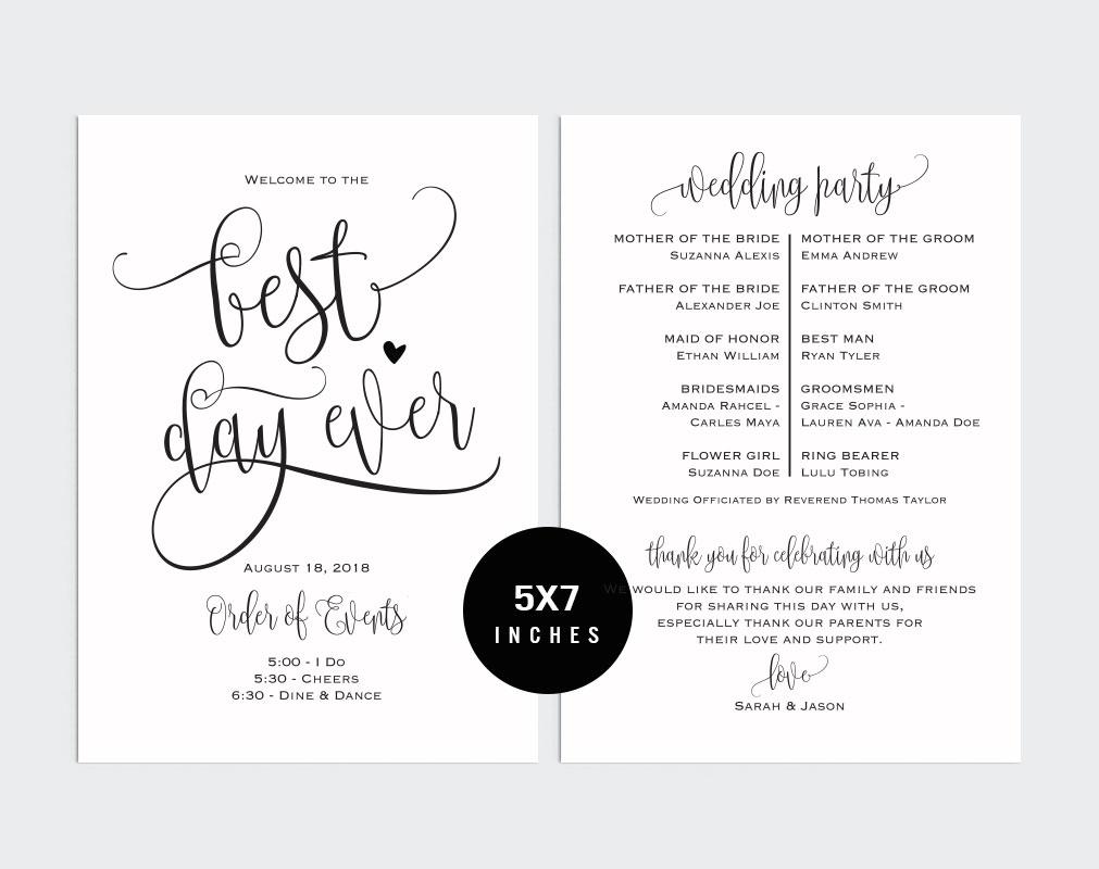 Wedding Program Fan example image 2