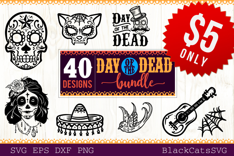 Day of the Dead SVG bundle 40 designs example image 1