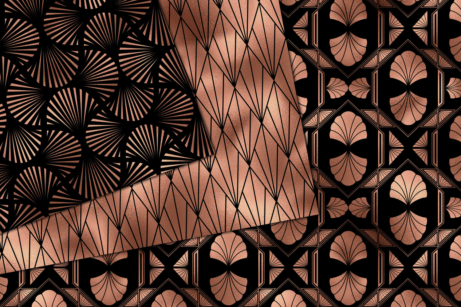 Black and Rose Gold Art Deco Digital Paper example image 2