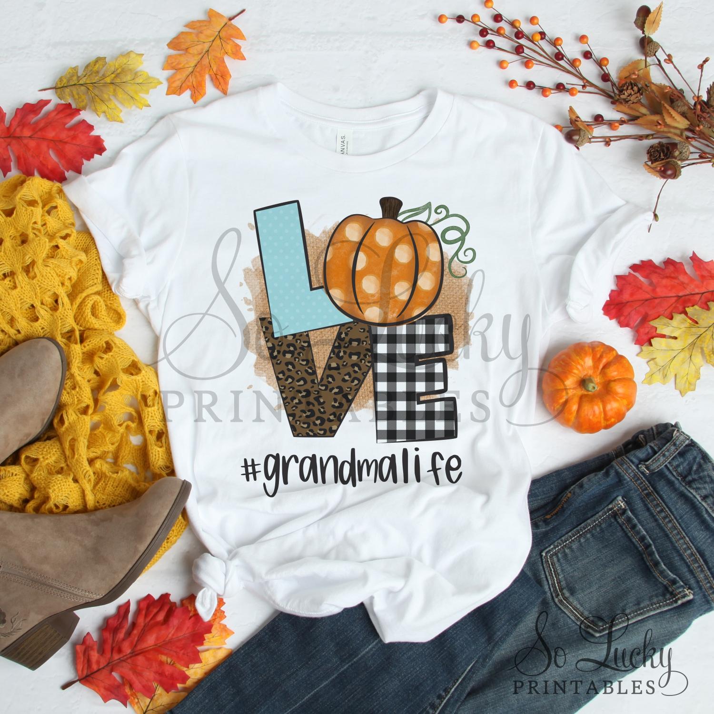Love pumpkin #Grandmalife printable sublimation design example image 2