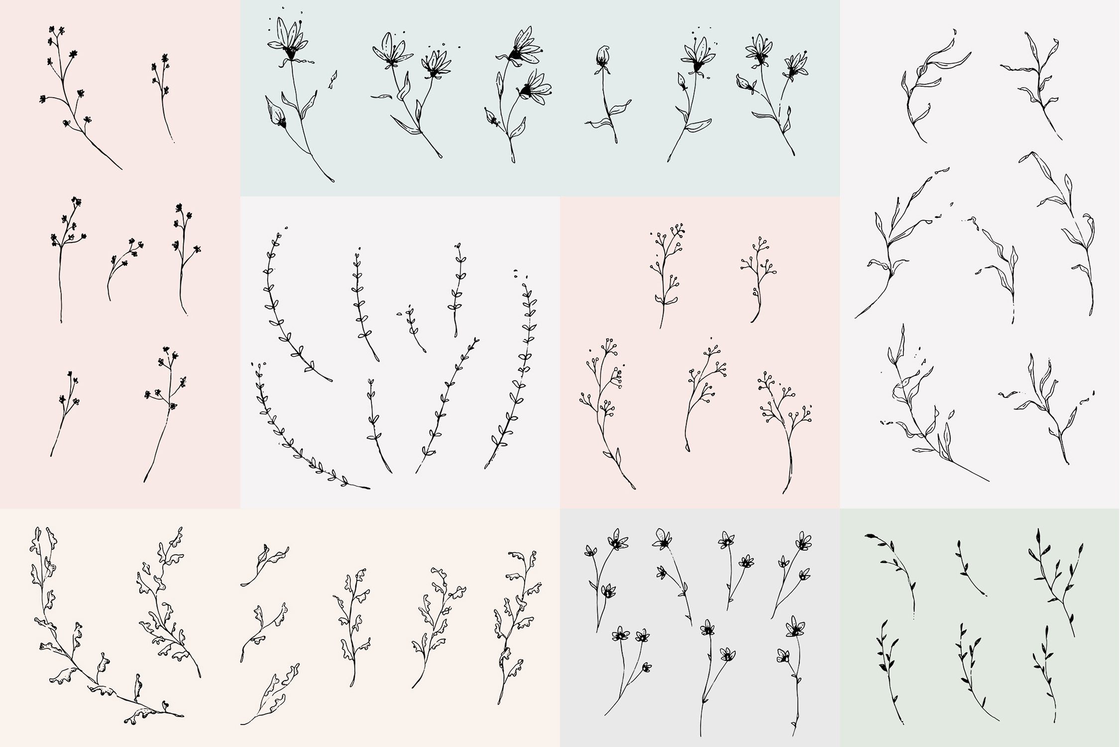 Floral Outline Illustration & Logo Pack example image 6
