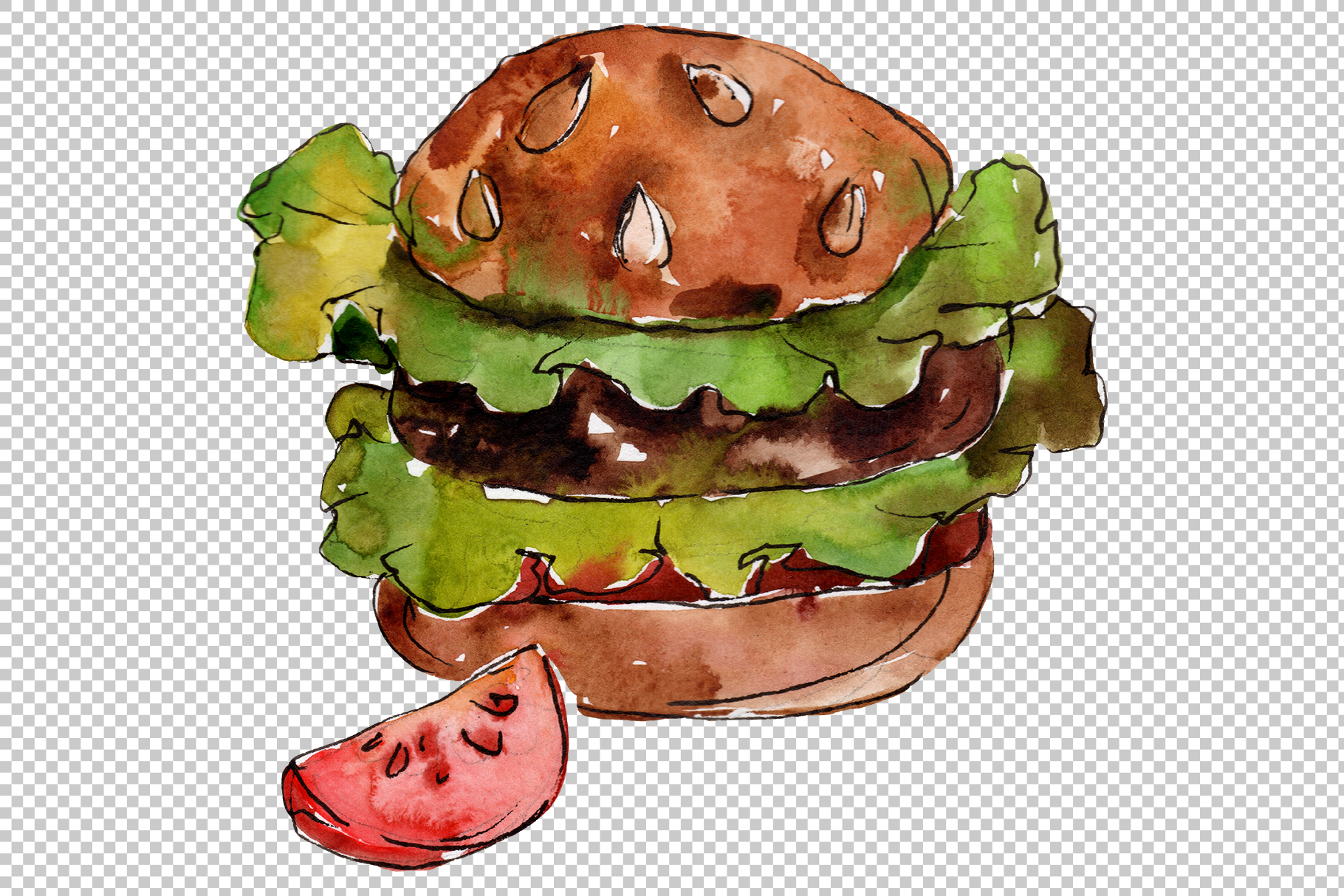 Hamburger for gentleman watercolor png example image 5