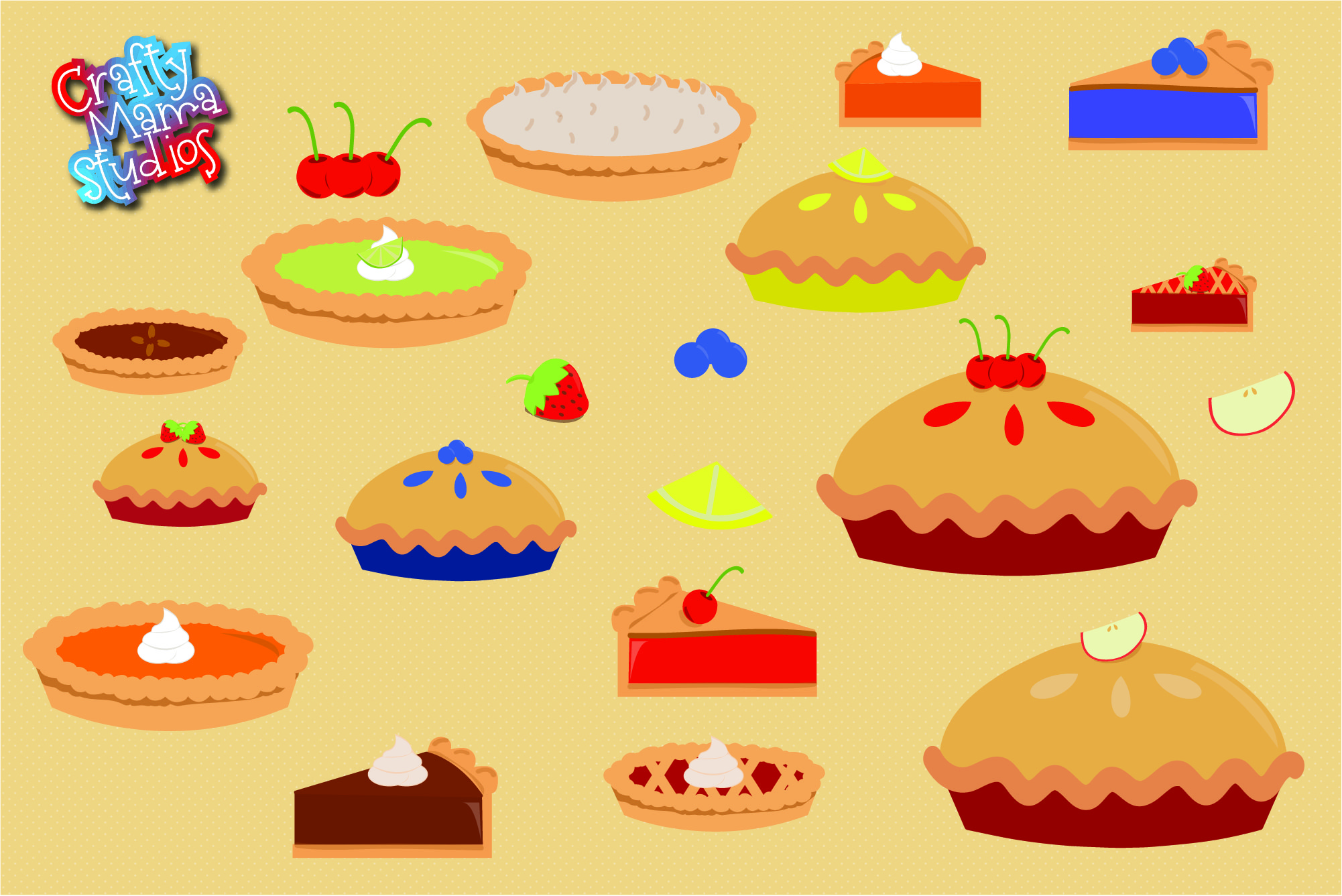 Pie Bundle SVG, Thanksgiving Pie Sublimation, PNG Fall EPS example image 2