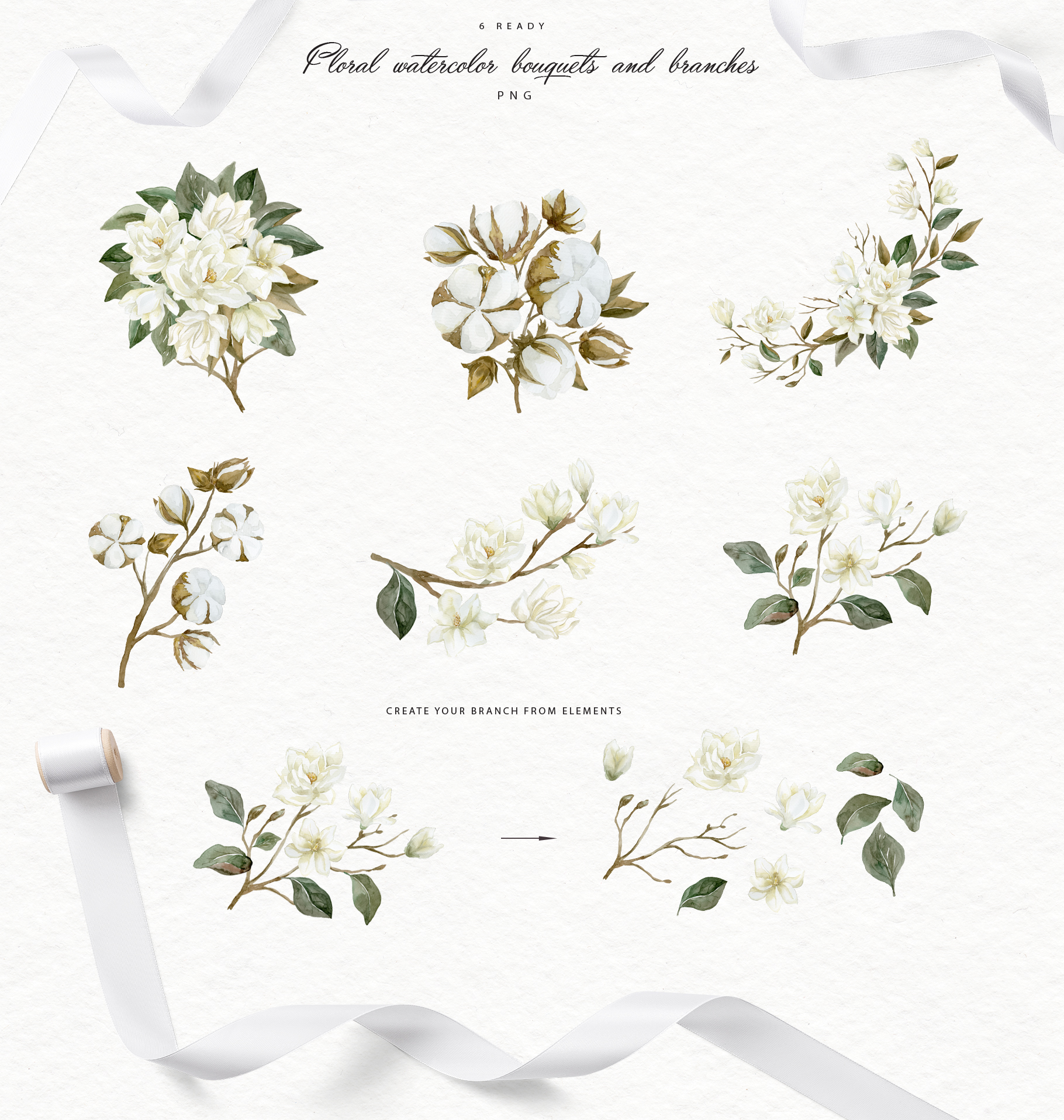 White Magnolia and Cotton. Trendy Greenery example image 6