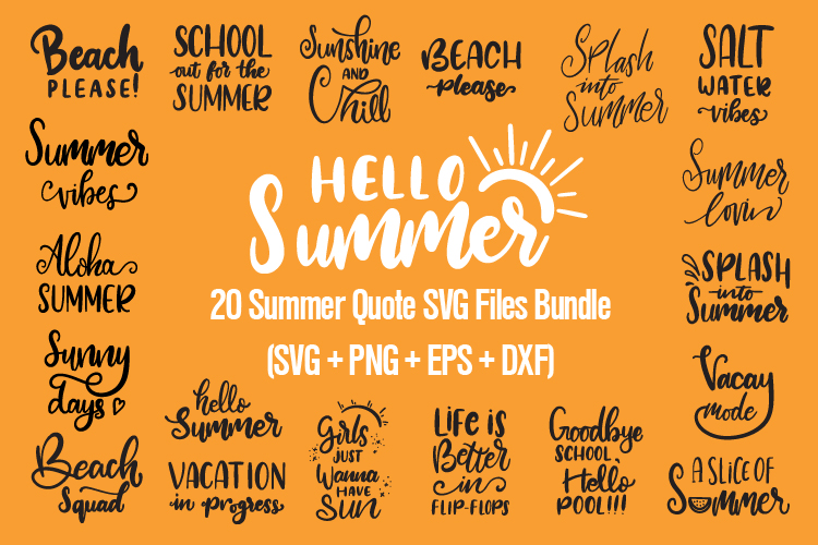 20 Summer Quote SVG Files Bundle