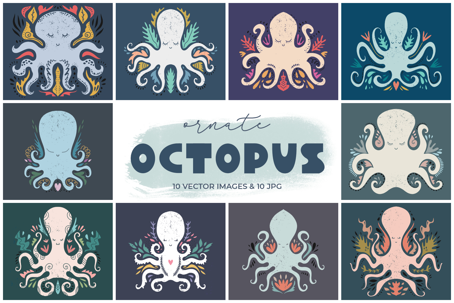 Cartoon stylized octopuses clip art set example image 1