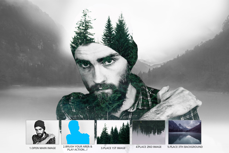 Multiple Exposure Photoshop Action example image 2