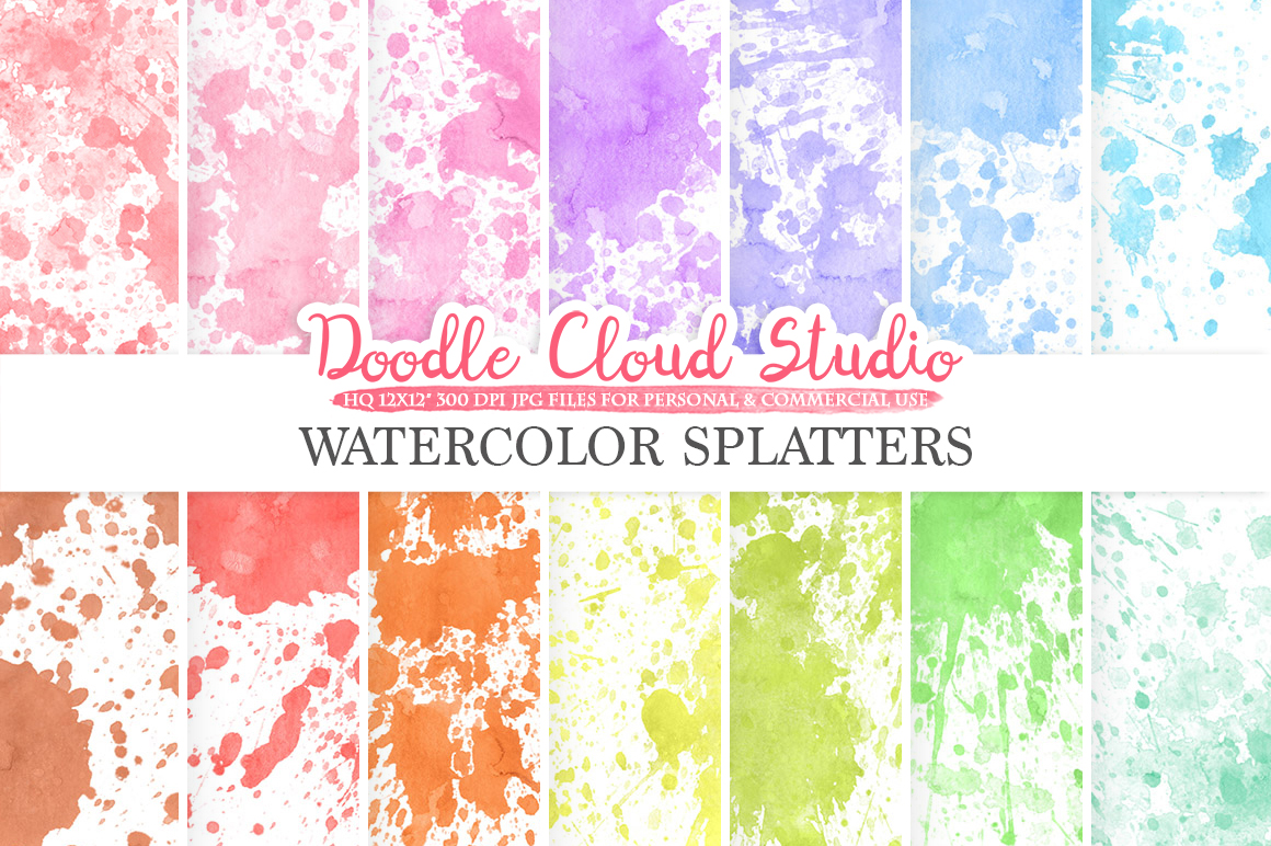 Paint Splatter digital paper, Watercolor Painted Splatters, Rainbow Colorful backgrounds, Instant Download for Personal & Commercial Use example image 1
