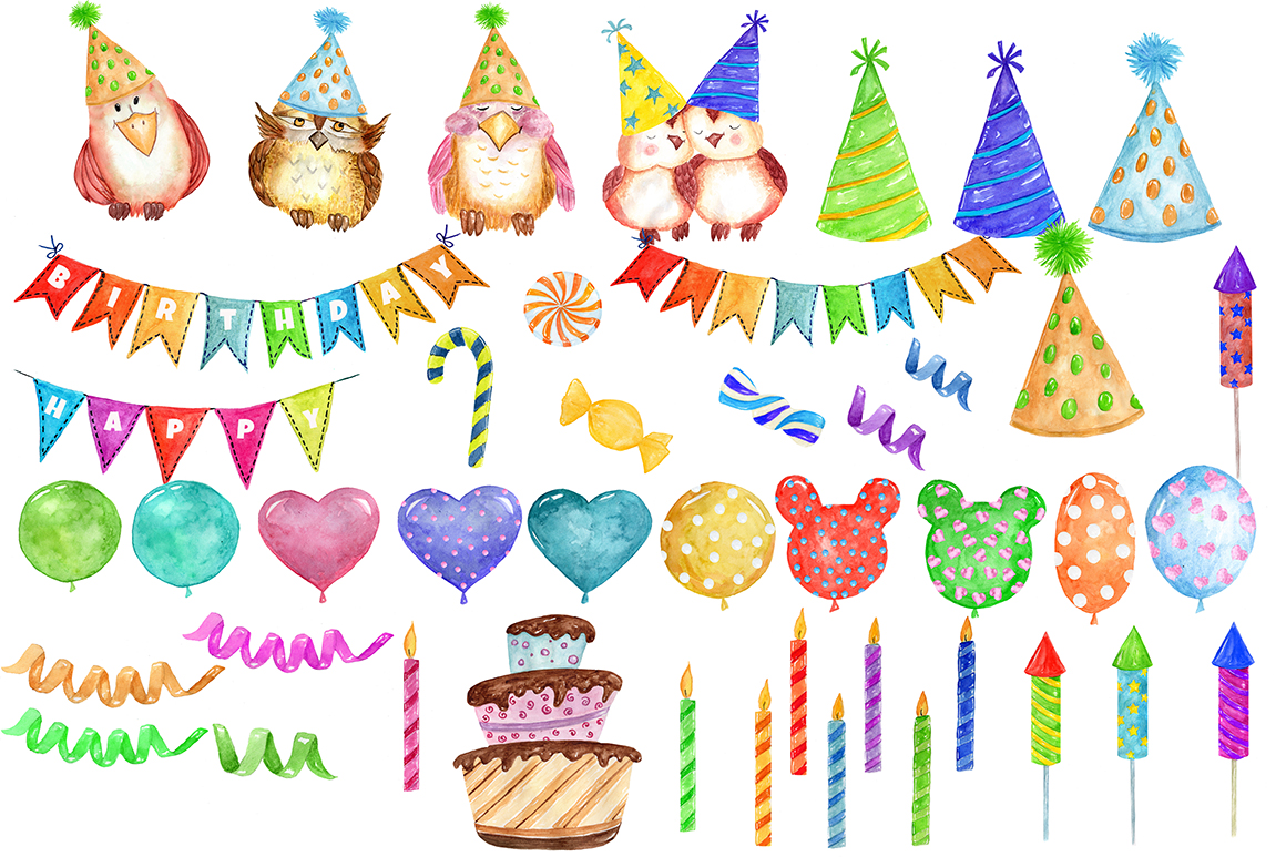 Watercolor Birthday Party Clipart example image 2