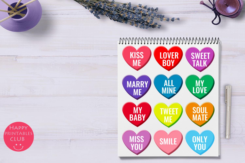 Valentine's Conversation Hearts Cliparts-Love Hearts example image 2