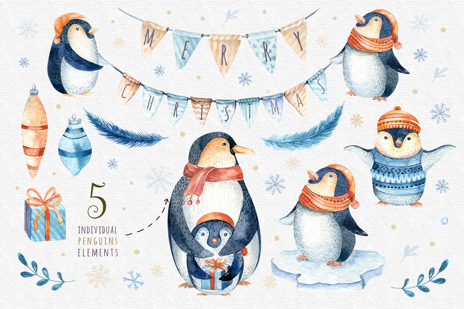 Watercolour penguins example image 2