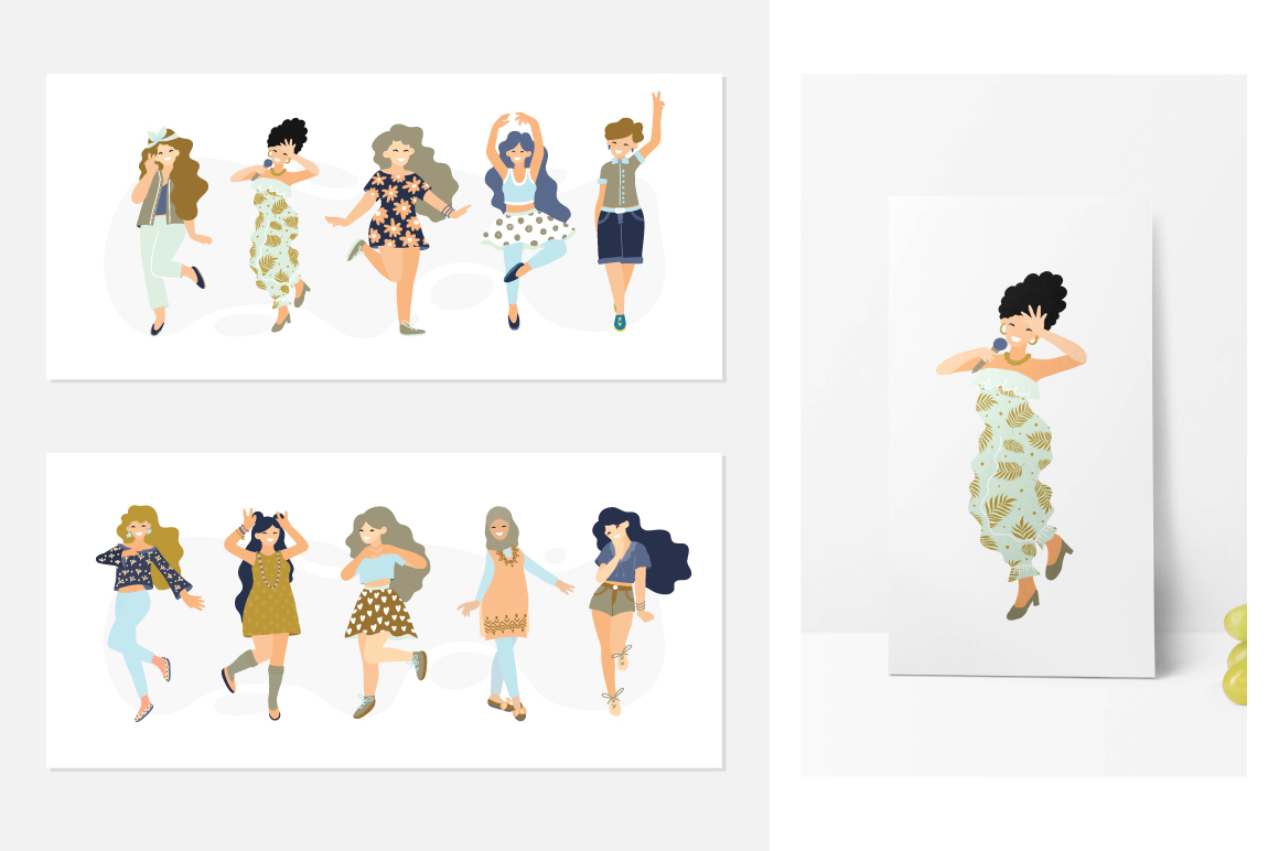 Girls - vector big collection example image 2