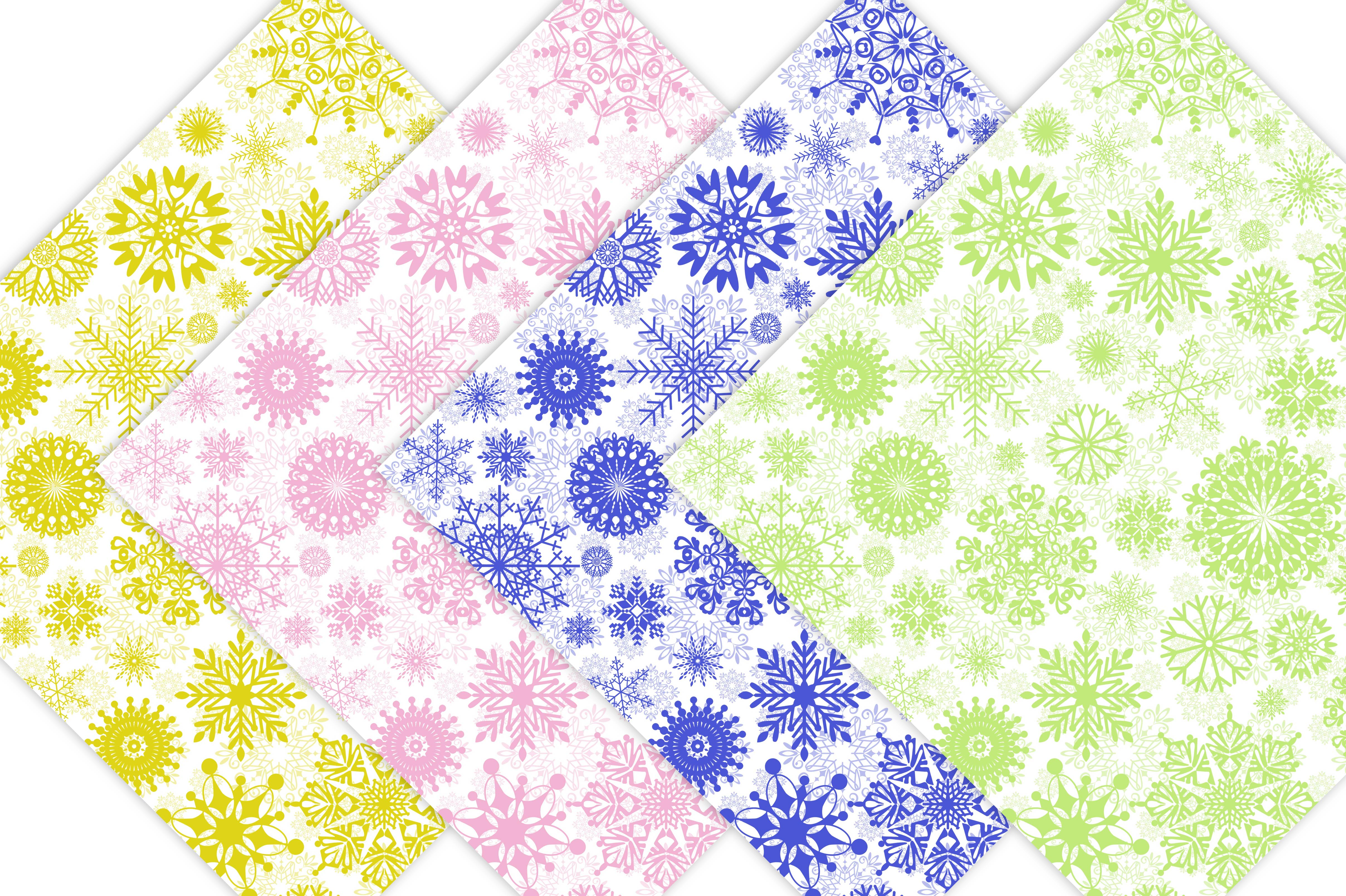 Winter Digital Paper Pack - Snowflake Patterns example image 5