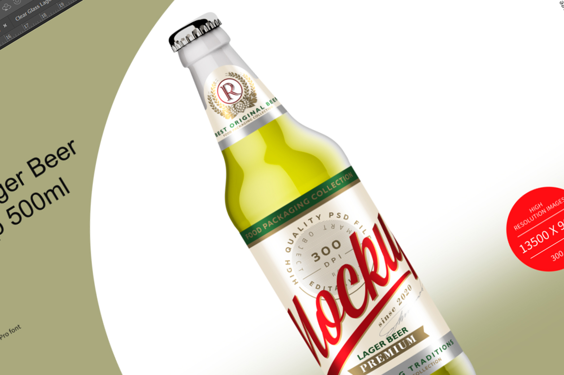 Clear Glass Lager Beer Bottle Mockup 500ml example image 6