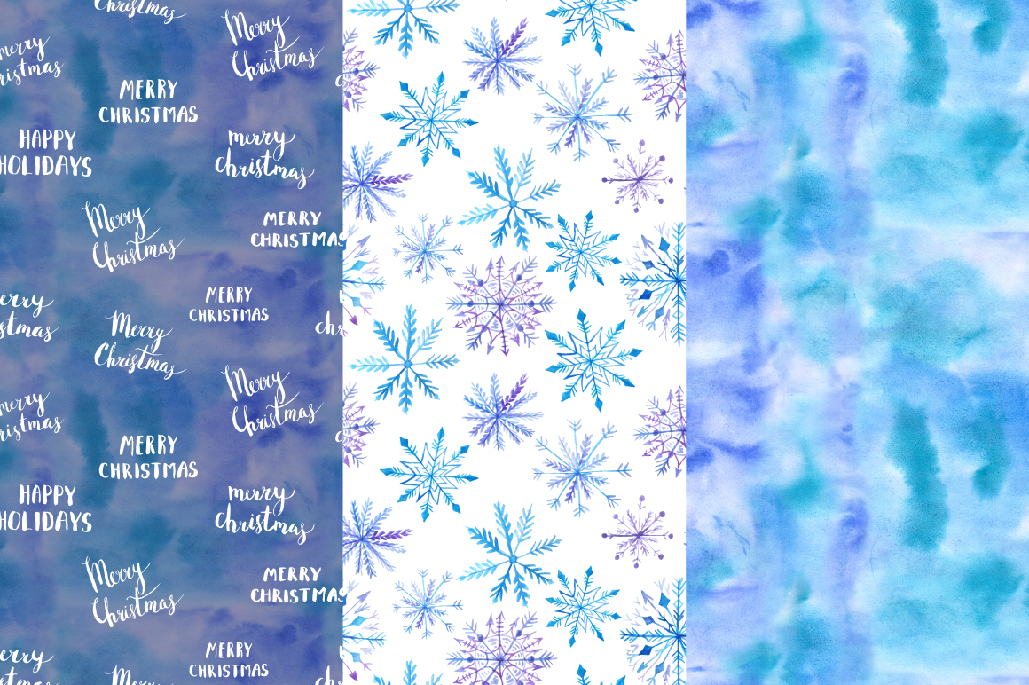 Watercolor Christmas Snow Patterns example image 5