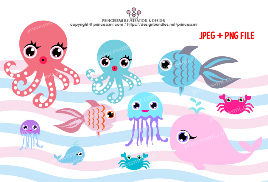 Collection of ocean Octopus, Goldfish Whale crab, Jellyfish example image 1