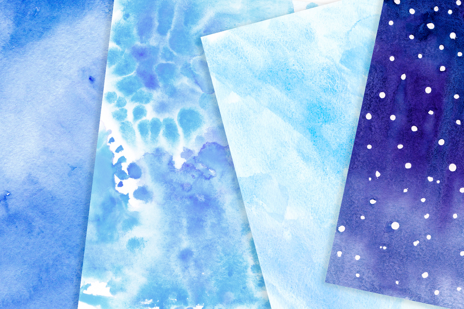 Blue watercolor backgrounds Winter digital paper example image 3