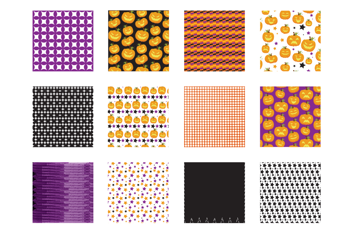 Halloween Pumpkins Pattern collection, vector ai, eps and example image 2